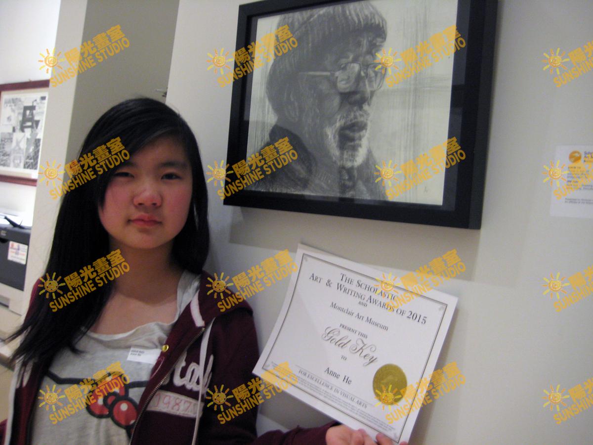 2015ANNIE HE RECEIVED GOLD KEY AWARD何安妮 获得2015年全美學生藝術與寫作大賽(NATIONALSCHOLASTIC ART & WRITING AWARDS)新澤西賽區金鑰匙獎